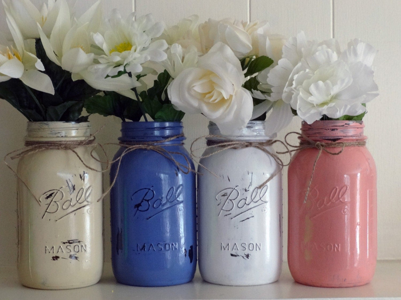 mason jars ball jars quart size 4 painted mason jars flower. Black Bedroom Furniture Sets. Home Design Ideas