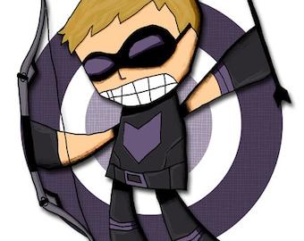 Hawkeye Art Print Avengers Superhero Illustration