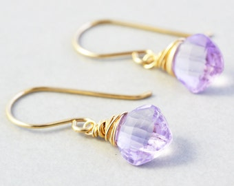 Amethyst Dangle Earrings, February Birthstone Jewelry, Lavender Drop Earrings