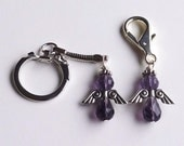 Purple Survivor and Awareness Cancer Angel Purse Charm or Key Chain - ACS Relay for Life Donation - Ready to Ship