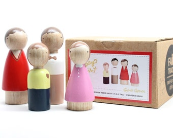 SALE Wooden Peg Dolls Waldorf Toys The Sunday Family // Gift Ideas Kids & Babies // Fair Trade Wooden Toys