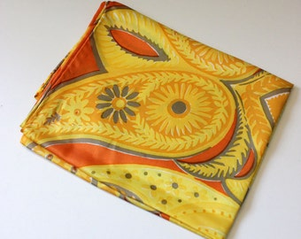 Vintage Vera Scarf. Gray and yellow paisley, vintage 1970s oblong.
