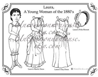 Laura Ingalls Paper Doll to Color, Adult or Child's Coloring Page