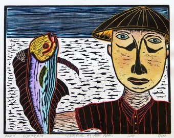 """Linocut hand pulled print """" Catch of the day"""" . watercolored print. printmaking."""