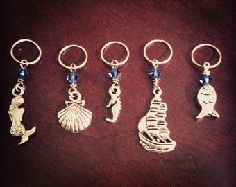 SALE Sea Shanty Set o'Sweetness: 5 Luxury Stitch Markers