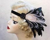 Great Gatsby, Halloween Costume, Peacock Feather Fascinator, Headband, Black Velvet,Ivory, Iridescent Black Feathers, Batcakes Couture