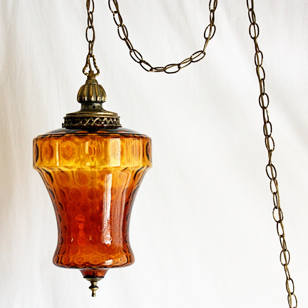 Vintage Hanging Light Hanging Lamp Swag Lamp By OldCottonwood
