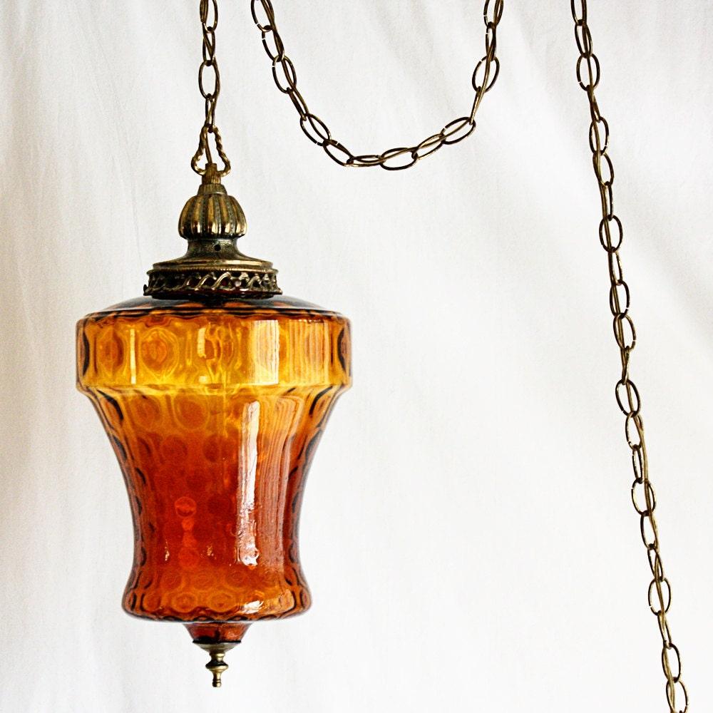 Vintage hanging light hanging lamp swag lamp amber globe