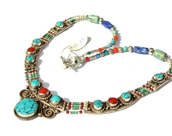 Nepalese Turquoise Coral, Lapis N Red Agate Necklace, Handmade Ethnic Jewelry, Tribal Jewelry, Beaded Jewellery, Tibetan Jewelry