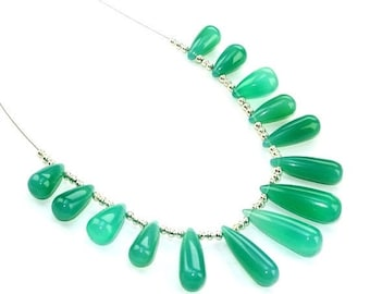 14 Pcs set  13-22mm Green Onyx Smooth Elongated Drops Briolettes Finest Quality Great Price (Custom Orders Welcome)