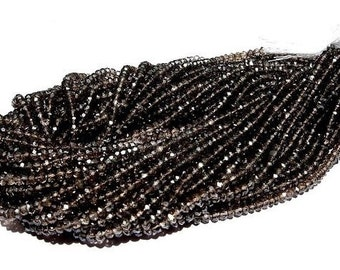 Mystic Smoky Quartz Micro Faceted Rondelles Full 14 Inches Long Size 3.5mm Approx