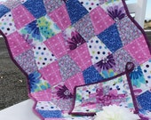 CUSTOM LISTING: Tumbler Table Runner in Purples and Blues (2), and matching Hot Pad