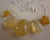 butterscotch agate chalcedony faceted briolettes five-array sterling chain necklace