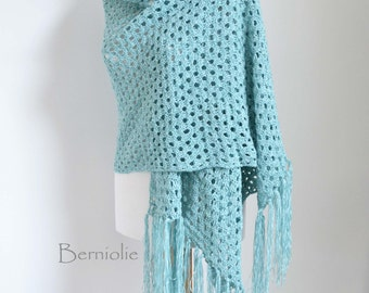 Lace crochet shawl, stole, cotton chenille, Sea blue, K54