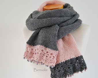 Knitted scarf, grey and pink with lace crochet trim and grey and pink glass beads K116