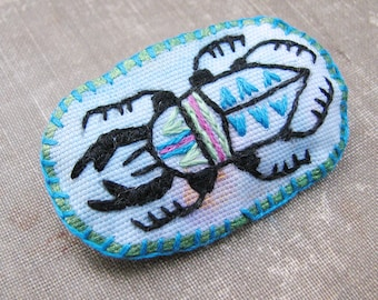 Embroidered Stag Beetle Pin, Fiber Art Brooch