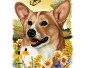 CORGI) Dog with Flowers on ONE 18 x 22 inch Fabric Panel for Quilting and Sewing