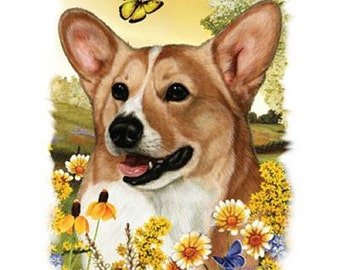 "CORGI) Dog with Flowers on ONE 18"" x 22"" Fabric Panel for Quilting and Sewing. Actual picture is 9"" x 11"" on white background."