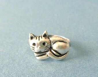 cat ring, adjustable ring, animal ring, silver ring, statement ring