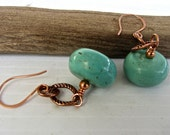 Turquoise Blue Green Gemstone with  Copper EARRINGS with Matching Necklace Available