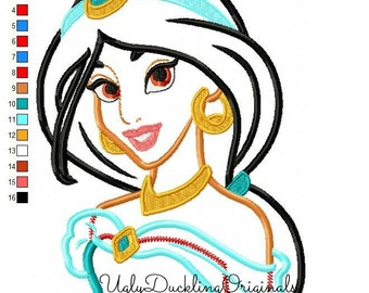 Jasmine Applique Design Princess Machine Embroidery Digital Download
