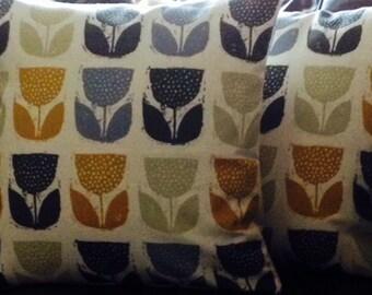 "2 New 16"" Saffron Mustard Royal Blue Print Designer Retro Pillowcases,Cushion Covers,Pillow Covers,Throw Pillow, Toss Pillow,NEW FABRIC"