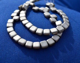 Matte Silver Two Hole Tile Beads  25