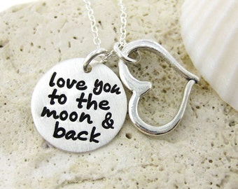 SALE 30% off - Love you to the moon and back necklace - Sterling Silver necklace with a Heart charm - Keepsake (NN001)