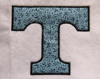 Letter T Applique Designs  3 Sizes