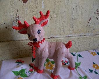 polka dot ceramic deer figurine