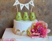 Wedding cake topper...Personalized monogram pears and fabric LOVE banner included ... package deal