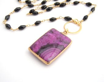 Black Amethyst Necklace With Jasper Pendant, Rosary Style, Black, Radiant Orchid, Gold, Modern Pendant, Black Spinel