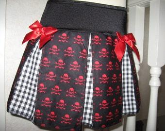 Sequoia,Black,red & white skulls,gingham check  Print Cheerleader Skirt,Mod,Rock,Goth,Punk Festival