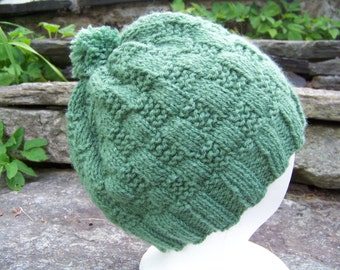 Handknit Alpaca Cloche Hat Basketweave Pattern in Leaf Green Baby Alpaca