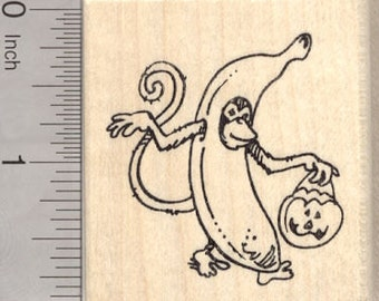 Trick or Treat Monkey Rubber Stamp, Halloween Banana Costume G25512 Wood Mounted