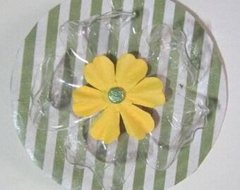 Striped Yellow Floral Ornament Mixed Media Recycled Repurposed Handmade