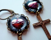 Burnin' For You sacred heart earrings. antique ex voto handpainted glass art gothic religious icon cross assemblage earrings holiday, bridal