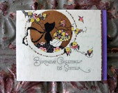 Vintage Birthday Card to Sister, Floral, Silhouette, Gorgeous