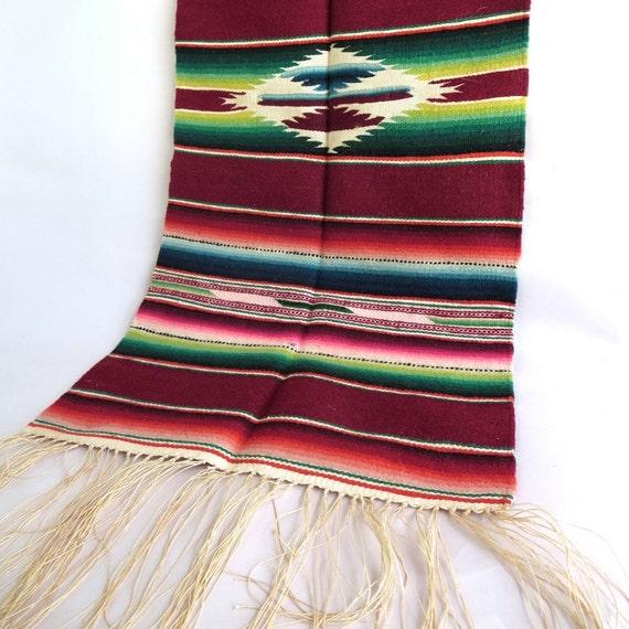 Vintage 1950s Mexican Saltillo mini blanket Ombre colorful Serape mini Rug Home Decor Vibrant