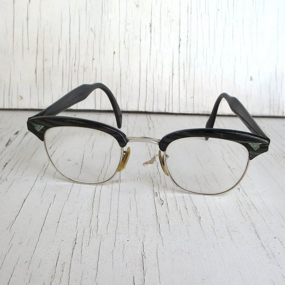 Vintage American Optical Horn Rimmed Wire Rim glasses Frames 60s Striped GF