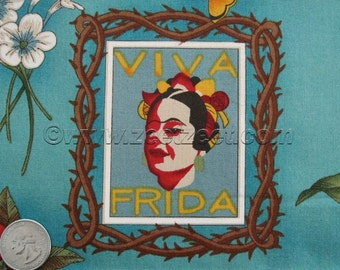 VIVA FRIDA Blue Teal Alexander Henry Artist, Mexico, Mexican Floral Cotton Quilt Fabric - by the Yard