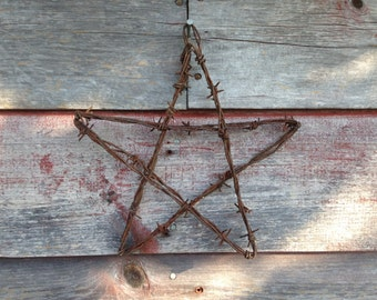 Barbed Wire Star Rustic Ranch, Wedding, Rusty Decor