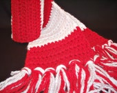 Red and White Striped Hand Crocheted Unisex Scarf