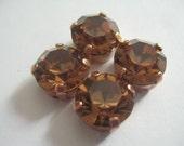 Lot of 4 11mm Light Smoked Topaz Chaton Swarovski Rhinestones in Copper Colored Brass Sew on Settings