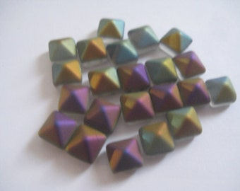 8 Matte Rainbow 8mm Pyramid 2 Hole Stud Beads Made in Czech Republic