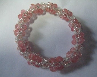 Simo Bracelet in Cherry Quartz and Crystal Pattern by Beads by Vezsuzsi Bead Work by ME: