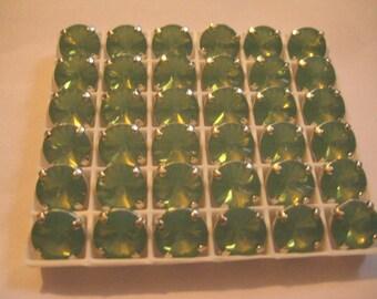 Lot of 4 11mm Pacific Opal Rivoli Shaped Swarovski Rhinestones in Sew on Settings