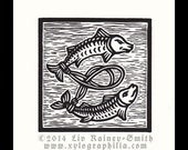 Pisces Zodiac astrological woodcut print hand pulled print 6 x 6