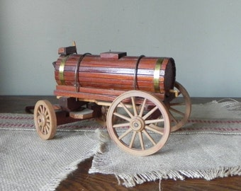 Vintage handmade wood model water wagon - for wild west wagon train - toy kitschy play stave barrel on wheels