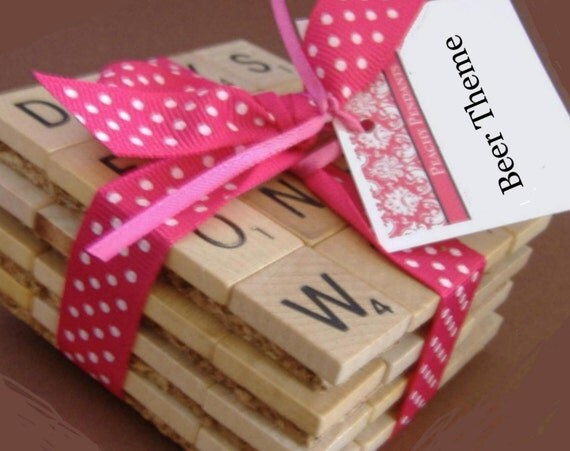 Scrabble Coasters Drink Coasters Fun Gift Beer By